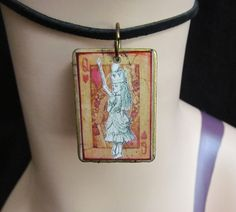 Alice queen of Hearts Game tile Necklace by stevenssteampunk