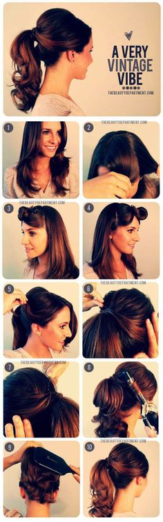 Ideas hairstyles for school photos pony tails - Hair Styles For School Dance Hairstyles, Best Wedding Hairstyles, Retro Hairstyles, Hairstyles For School, Easy Hairstyles, Elegant Hairstyles, Chignon Bouffant, Chignon Headband, Cabelo Pin Up