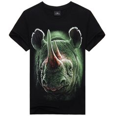 Plus Size mais novo Design de alta qualidade 100% algodão de moda Mens esfriar 3D DIY T-Shirt feroz rinoceronte Animal Print homens personalidade