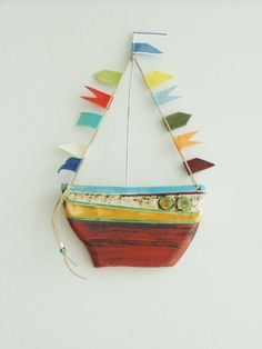 Ceramic boat wall hanging colourful rustic by ArktosCollectibles, $40.80