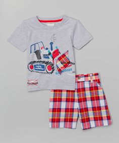 Look what I found on #zulily! Buster Brown Gray Construction Tee & Plaid Shorts - Toddler by Buster Brown #zulilyfinds