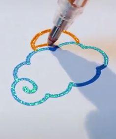Gel Pen Art, Gel Pens, Bullet Journal Art, Bullet Journal Ideas Pages, Cute Pens, Glitter Art, Art Drawings For Kids, Paint Pens, Crayon