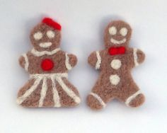 Gingerbread Couple Needle Felted Gingerbread Man Woman by SaenzArt, $36.00