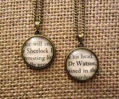 Sherlock and Watson Friendship Necklaces - Book Page Necklace by Geeekalicious on Etsy https://www.etsy.com/uk/listing/214581042/sherlock-and-watson-friendship-necklaces