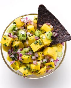 Mango Salsa!!! So tasty! Tried it for the fist time this week, it will change your life. Bright, fresh, and so good for you because of the mangoes! serve with chips or on top of grilled chicken or fish and it is amamzing!:D