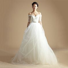 Lace wedding dress, wedding dress with sleeves, shoulder off bridal dress--JACQUELINE on Etsy, $1,150.00