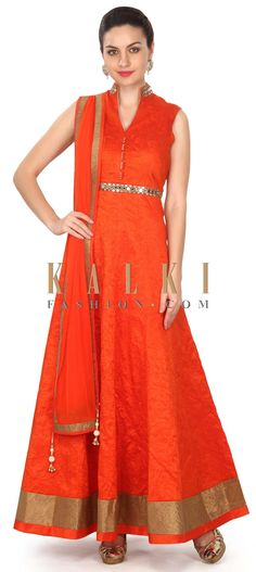 Buy this Orange anarkali suit adorn in thread and mirror work only on Kalki