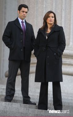 Mariska Hargitay and  Danny Pino filming 'Law & Order