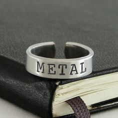 Metal Ring  Death Metal  Devil Horns  Aluminum by IdleHandShop, based in Kentucky, USA, and selling on Etsy
