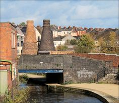 two remaining kilns of the Trent Works alongside the Caldon Canal