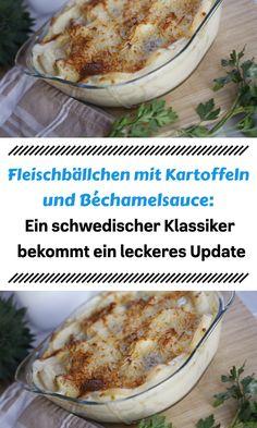 Fleischbällchen mit Kartoffeln und Béchamelsauce: Ein schwedischer Klassiker bekommt ein leckeres Update Meat, Chicken, Food, Peeling Potatoes, Beef, Food Food, Cooking, Recipies, Essen