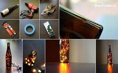 DIY ideas and tutorials - decorative Christmas lights in a bottle