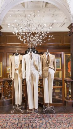 Summer  Suiting: Ralph Lauren Purple Label linen suits in shades of  cream have a light touch