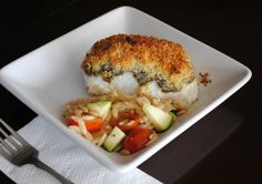 Parmesan Halibut with Tomato and Zucchini Orzo from www.shugarysweets.com