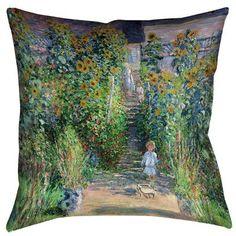 "Darby Home Co Ghislaine Flower Garden Cotton Throw Pillow Size: 14"" x 14"""
