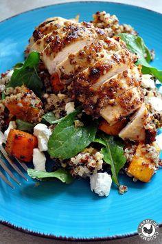 Mustard Crusted Chicken over Quinoa & Roasted Pumpkin Salad