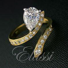 """""""Jillian"""" unusual design pear shape diamond ring."""