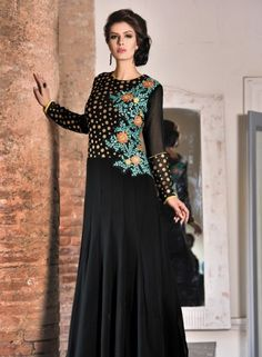 Party wear Black indian designer gown in net and georgette C15078