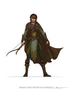 Female Half-Elf Ranger, John-Paul Balmet on ArtStation at http://www.artstation.com/artwork/female-half-elf-ranger
