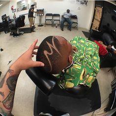 """"""" using the King Midas Cape. Black Boys Haircuts, Black Men Hairstyles, Undercut Hairstyles, Boy Hairstyles, Nba Haircuts, Haircuts For Men, Barber Tips, Hair Tattoo Designs, Barber Shop Haircuts"""