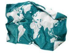 BIOPLANET - Badetuch mit Weltkarte-Motiv