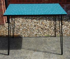 Vintage Retro Original 1950s Blue Green Patterned Formica Kitchen Table, Industrial Hairpin Legs