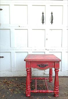 Chalk Painted Distressed Furniture Barn Red Rustic Fall Sidetable Hand  Painted Using Homemade Chalk Paint Autumn Decor Shabby Chic Boho