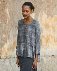 Poetry - Stripe linen peplum blouse