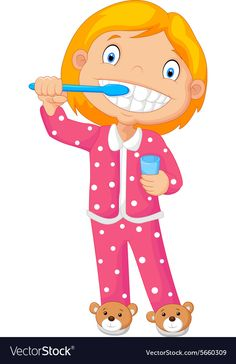 A Young Girl Brushing Her Tooth Royalty Free Vector Image English Worksheets For Kindergarten, English Activities, Kindergarten Worksheets, Activities For Kids, Bullet Journal For Kids, Britto Disney, Hand Washing Poster, Nurse Teaching, Kids Room Wall Decals