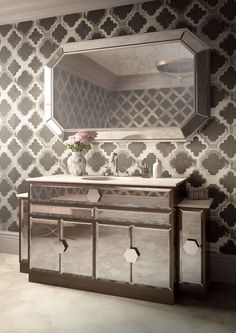 Our new Marilyn vanity unit is feminine and sophisticated. Antiqued mirror glass doors are set with hexagon handles for an elegant aesthetic. Designed by Justin Van Breda exclusively for C. Single Bathroom Vanity, Bathroom Vanities, Bathroom Furniture, Small Bathroom, Bathroom Storage, Antique Mirror Glass, Antiqued Mirror, Art Deco Bathroom, Bathroom Trends