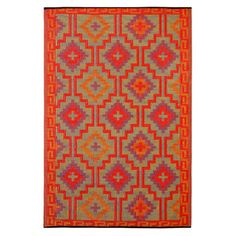 Fab Habitat Lhasa X Indoor/outdoor Rug In Orange With Violet - Add a touch of colorful flair to any room or outdoor space with this unique, recycled Aztec rug. This soft, plastic rug is durable and unaffected by moisture or mildew when outside. Lhasa, Indoor Outdoor Area Rugs, Indoor Outdoor Rugs, Outdoor Living, Outdoor Gardens, Aberdeen, Deco Orange, Best Weave, Coastal Area Rugs