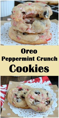 This easy peppermint Oreo cookie cake mix, a stick of butter, and an egg. adding some peppermint extract, Oreo cookies, and peppermint crunch pieces. Cookies Receta, Oreo Cookies, Chip Cookies, Xmas Cookies, Easy Christmas Cookies, Oreo Cookie Recipes, Caramel Cookies, Cupcakes For Christmas, Christmas Dessert Recipes