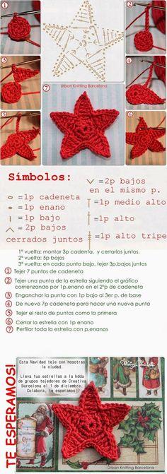 El baúl de Esmeralda ♥♥♥: TEJIENDO ESTRELLAS DE GANCHILLO ❥Teresa Restegui http://www.pinterest.com/teretegui/ ❥:
