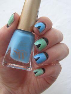 #design #Ногти #nail #nails #nailart #Маникюр #Идея_для_маникюра #геометрия #негативноепространство #голубой #мятный #черный #geometry #negativespace #blue #mint #black