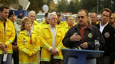California Governor Arnold Schwarzenegger's Presser at the Grass Valley and Slide Fires ICP.   October 2007