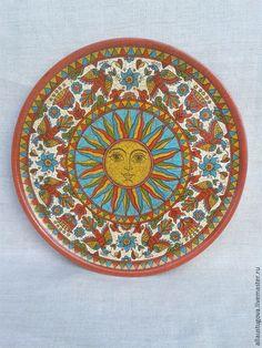 "Купить Тарелка декоративная ""Солнце красное"" - тарелка, Тарелка декоративная, тарелка сувенирная, тарелка настенная"
