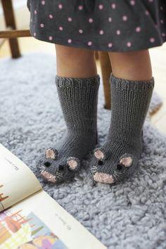 Diy knit mice socks