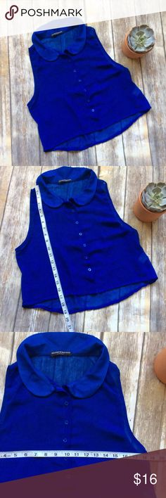 Brandy Melville Button Down Top OS Like new Sheer blue slightly cropped Button Down top from Brandy Melville. Cute paired with some high waisted shorts! Brandy Melville Tops