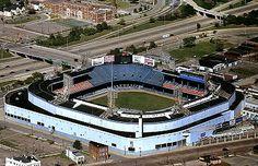 Aerial photo of Old Detroit Tiger Stadium, Wayne County, Michigan, MI United States