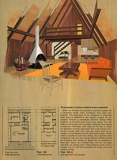 A-Frame cabin - 'Great Ideas for Second Homes: A Portfolio of 20 Distinguished New Designs in Plywood, published by the American Plywood Association in These plans were meant to be ordered from the Home Building Plan Services of Portland, Oregon. Building Plans, Building A House, Ideas De Cabina, Plan Chalet, Mini Loft, The Design Files, Cabins And Cottages, Cabin Homes, Cabins In The Woods