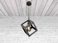 Iron <b>Cube Pendant Light</b> Stylish Chandelier Hanging <b>cube</b> Industrial ...