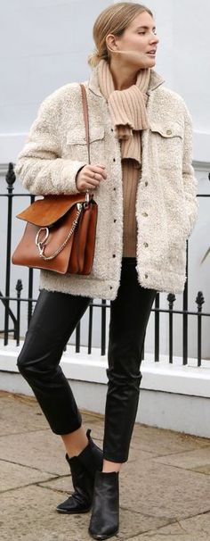 Fashion Me Now Beige Sheepish Jacket Fall Street Style  women fashion outfit clothing stylish apparel @roressclothes closet ideas