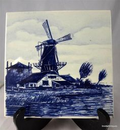 "Antique Windmill Art Pottery Blue & White Holland Delft 6"" Tile or Trivet Signed"