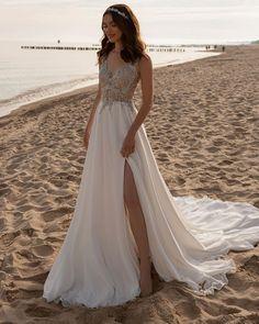 21 Hottest Wedding Dresses 2021 That Are Wow ❤ hottest wedding dresses a line lace top beach tina valerdi #weddingforward #wedding #bride #weddingoutfit #bridaloutfit #weddinggown
