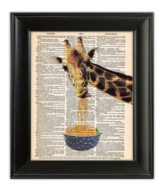 GIRAFFE Art Print Eating Noodles Spaghetti Funny ORIGINAL Mixed Media Painting Illustration on Antique English Dictionary Book Page 8x10 on Etsy, $11.18 AUD