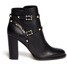 Valentino 'Rockstud' strap leather ankle boots ($1,375) ❤ liked on Polyvore featuring shoes, boots, ankle booties, botas, ankle boots, valentino, black, short black boots, black booties and leather booties