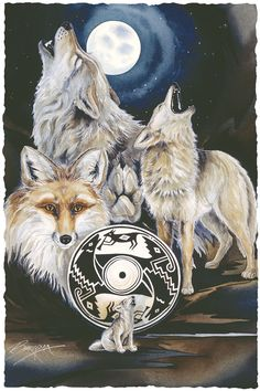 Bergsma Gallery Press :: Paintings :: Nature :: Wild Land Animals :: Wolves and Wild Dogs :: Ancient Voices - Prints