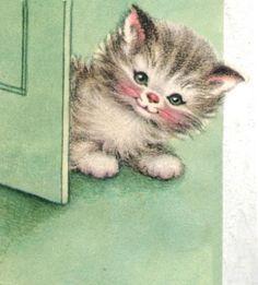 A sweet little green-eyed bundle of cuteness. #cats #kittens #vintage #illustrations