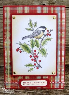 Stampin' Up! ... handcrafted Christmas card ... A Beautiful Season by jimlynn  ... like the use of plaid and brads ...