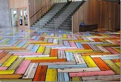 Richard Woods is a British designer/architect known for his graphic cartoon-like floorpatterns. these are bold, geometric, herringbone faux-bois wood floors Unique Flooring, Best Flooring, Vinyl Flooring, Wooden Flooring, Driftwood Flooring, Parquet Flooring, Flooring Ideas, Chevron Floor, Faux Painting
